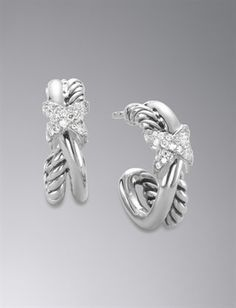 The Crossover Collection™ Petite X Earrings, Diamond, 16.3x6mm