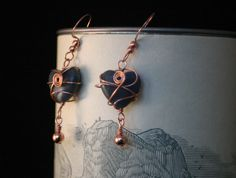 Copper caged sodalite heart earrings.  Hand Made.  One of a kind.