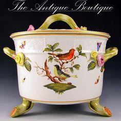 Herend Rothschild Bird Porcelain Lidded Biscuit Box