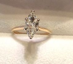 1 30ct Marquise Diamond Solitarie 14k Yellow Gold Engagement Ring   eBay