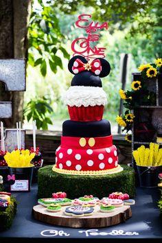 Mickey + Minnie Mouse Sunshine Soiree via Kara's Party Ideas : Stunning Cake