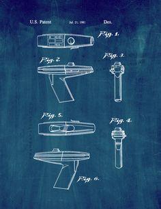 Star Trek Phaser, Scotty Star Trek, Star Trek Characters, Patent Prints, Fig, Science Fiction, Evolution, Sci Fi, Geek Stuff