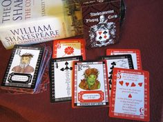 """Behold! A Shakespearean playing card deck for students, teachers, drama geeks, bookish types and actors alike. This deck of 54 playing cards is completely custom, and is illustrated more in the style of """"transformation"""" playing cards; the pips or suits have a tendency to form a picture/mood/concept that relates to the quotes on them.  The face cards, A, J, Q, and K contain hand drawn and computer colored illustrations of each character with a short quote, as do the two """"Fools"""" (jokers) Card Deck, Deck Of Cards, The Shak, Custom Playing Cards, Jokers, Geeks, The Fool, Hand Drawn, How To Draw Hands"""