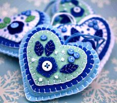 Felt Christmas ornament, Handmade felt heart ornament, Blue and white heart decoration,Floral heart ornament.Heart Christmas decoration,