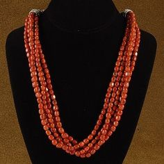 Genuine Apple Coral 5 Strand Bead Choker Necklace $219.00 #Alltribes