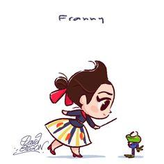 Chibies of Disney's Snow White & Bird , Eilowny & Gurgi , Franny & Frog . https://www.facebook.com/artofdavidgilson/