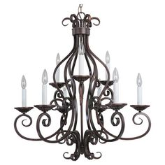 Illuminate your foyer or dining room in style with this 9-light iron chandelier, showcasing an oil-rubbed bronze finish and scrollwork detailing.