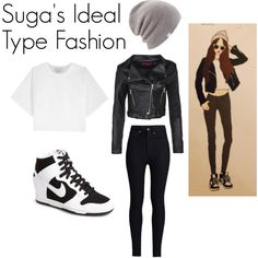 Suga's Ideal Type Outfit by kaisper on Polyvore featuring 3.1 Phillip Lim, Boohoo, Rodarte, NIKE, Coal, bts, Suga and kpopinspired