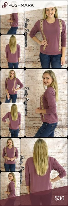 "NWT Mauve & Crochet Trim Casual Cozy Top NWT Mauve & Crochet Trim Casual Cozy Top  Available in M, L (Small sold out) Measurements taken from a small  Length: 23"" Bust: 40"" Waist: 38""  Rayon/Poly/Spandex Made in the USA  * Also available in Navy in a separate listing *  * Model is wearing a size small *  Features  • cream crochet trim accents • long sleeves • insanely soft material w/stretch • pull over design • rounded neckline  Bundle discounts available No pp or trades  Item #…"