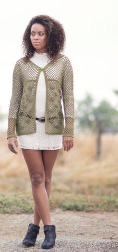 Lace Cardi.  Lily Chin.  Crochet cardi.  8ply 270m/ 100g x 4.  Interweave Crochet Spring 2016.  Newsstand