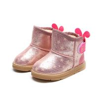 Kids Boots 2017 Winter New Fashion Glow In The Dark Children Shoes Girls Boots Warm Plush Soft Sole Toddler Baby Shoes Snow Boot