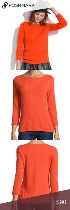 """ONE HOUR SALE Madewell Gamine Sweater Café Orange Add some color to a dreary winter wardrobe with a beautiful bold orange, warm enough to wear as a pop of color all winter. Super soft, slightly loose knit, ultra soft merino wool, and the simple boat neck style, make this sweater a wardrobe staple. Price is firm.   approximate measurements bust 22"""" length 26.5"""" sleeve 19"""" (from armpit)  100% merino wool  ❌ Sorry, no trades.  040235 Madewell Sweaters Crew & Scoop Necks"""