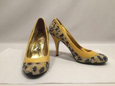 """Sexy Heel Size 9 Naughty Monkey Womens Yellow and Navy Animal Print 4"""" Heel #NaughtyMonkey #PumpsClassics"""