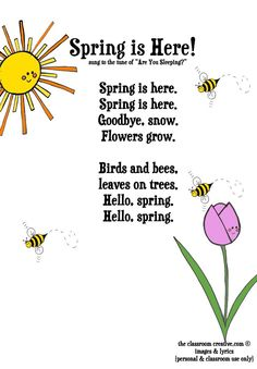 Spring activities: FREE spring poem for kids. activities FREEBIE: Spring Song Printable for Kids Preschool Poems, April Preschool, Kids Poems, Preschool Music, Poems For Kindergarten, Kindergarten Calendar, Children Songs, Spring Songs For Kids, Songs For Toddlers