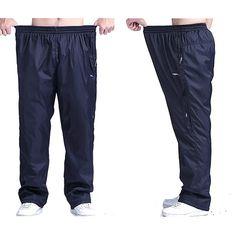 Sale 10% (33.89$) - Plus Size Mens Winter Thick Fleece Warm Pants Elastic Waist Loose Casual Pants