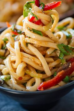 Chilled Garlic Sesame Udon Noodles with Bok Choy, Shiitake Mushrooms and Red Bell Pepper Chilled udon noodles tossed lightly with a flavorful garlic-sesame dressing make for an easy-to-prepare healthy and light meal—perfect for warm weather! Easy Appetizer Recipes, Healthy Recipes, Asian Recipes, Vegetarian Recipes, Cooking Recipes, Asian Noodle Recipes, Asian Dinner Recipes, Kitchen Recipes, Asian Cooking