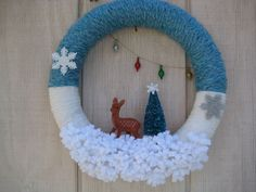 Yarn Wreath//Christmas Wreath//Retro Wreath by stellakatie on Etsy