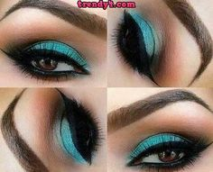 Sexy turquoise eye make up