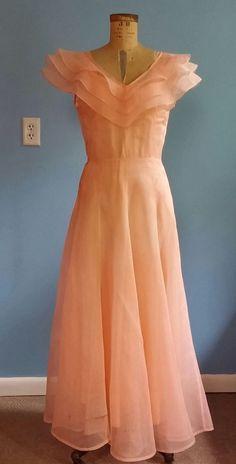 WOMENS VINTAGE 1920's, PEACH DRESS, GREAT GATSBY, TEA DRESS, GARDEN, WEDDING, | eBay