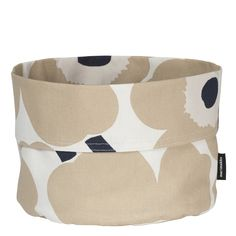 This versatile bread basket is made of a blend of cotton and linen and it features the Pieni Unikko (poppy) pattern in off white, beige and dark blue. Marimekko's famous poppy pattern Unikko was born in 196 Marimekko, Poppy Pattern, Dark Blue Color, White Beige, Flower Patterns, Floral Prints, Objects, Basket, Design