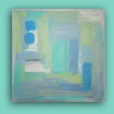 Art Abstract Light Blue Modern Acrylic Painting SOFT WHISPER 30X30X1.5 by Ora Birenbaum via Etsy