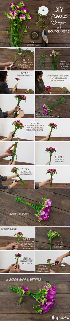 DIY Freesia Bouquet and Boutonniere