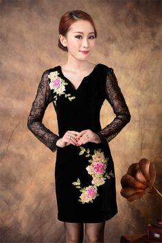 Gold velvet embroidered cheongsam