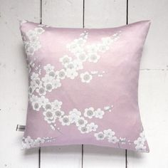 The back of this cushion is just as pretty. Vintage kimono pillow. Pink Cherry blossom