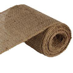 """Loose Weave Natural Burlap Ribbon Size: 6"""" in width; 10 yards in length Material: Jute Color: Natural Burlap Arriving September"""
