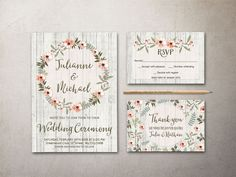 Printable rustic floral wedding invitation • wedding invitation (5x7, fits inside A7 envelope) + RSVP & thank you card (4x6, fits inside A6