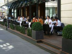Beautiful People in Vienna Outdoor Restaurant Design, Restaurant Exterior Design, Terrace Restaurant, Cafe Interior Design, Sport Bar Design, France Cafe, Bookstore Design, Cafe Seating, Small Cafe Design