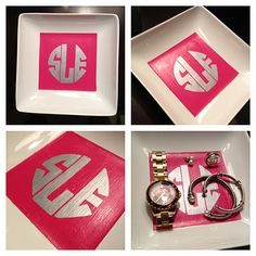 DIY monogram dish, this would be a perfect gift!