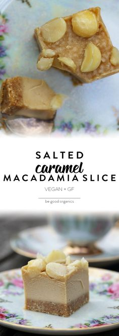 Salted Caramel Macadamia Slice - Be Good Organics. With oats, coconut, almonds, dates, cashews, tahini.