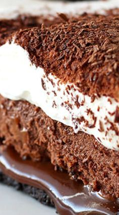 Chocolate Caramel French Silk Pie ~ The BEST PIE EVER... Easy Oreo cookie crust, hidden layer of thick homemade caramel, chocolate French silk filling, and whipped cream! Can be made ahead of time and has no raw eggs!