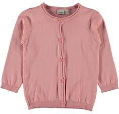 Meisjes cardigan NITVAMINA van het merk Name-it. Roze (Rose tan) cardigan met een knoopjes sluiting tot beneden Het is een effen cardigan voorzien voor lente / zomer.