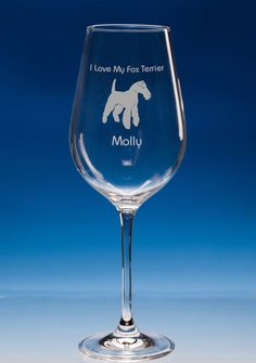 Fox Terrier Dog Lover Gift Engraved Personalised Fine Quality Wine Glass - Choose Your Name and Message - Birthday Gift - Christmas Gift