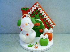 Christmas Snowman Scene Polymer Clay Holiday Figurine
