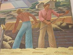 Farmers - Texas Farm, Elgin Texas Post Office Mural detail  by Julius Woeltz, 1940.