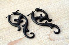 Post Earrings Yashmila Curls Black Horn Tribal Style - Gauges Plugs Bone Horn -. $15.00, via Etsy.
