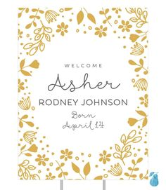 A patch of wildflowers frames your baby's name and birth date on these elegant birth announcement yard signs. You can choose from over 70 colors for the flowers as well as the background and text to create a color combination you love.