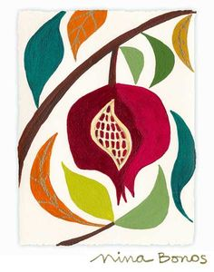 Florals: Pomegranate Creativity, giclée print by Nina Bonos