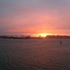 Newport, Oregon at sunset.