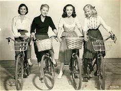 The blond, 2nd from left, is Joan Fontaine and the girl on the far right might be Sandra Dee. The other two look familiar but I can't place their names.