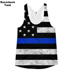 Thin Blue Line All Over Print Tank Top by ForgetSundayDrives. Unisex and…