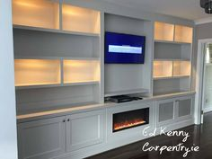 Bespoke TV unit with electric fire Carpentry Services, Electric Fires, Bespoke Furniture, Tv Unit, Cabinets, Building, Design, Home Decor, Custom Furniture
