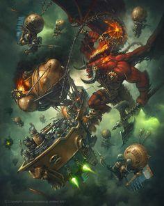 Arkanaut Ironclad vs Bloodthirster, Jaime Martinez on ArtStation at https://www.artstation.com/artwork/gKnoG