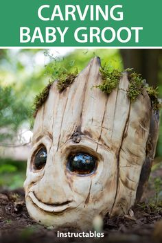 Carve a Baby Groot head planter, from Guardians of the Galaxy, out of cedar. carving Carving a Baby Groot From Wood Dremel Wood Carving, Wood Carving Art, Wood Carvings, Wood Carving Designs, Wood Carving Patterns, Baby Groot, Dremel Tool Projects, Wood Projects, Dremel Ideas