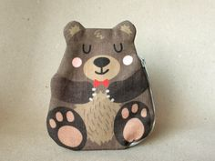 Hey, I found this really awesome Etsy listing at https://www.etsy.com/listing/205929024/bear-coin-purse-teddy-cotton-brown