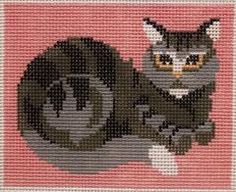 Tabby cat needlepoint by Annie & Co - Camus # C02  Tabby Cat  13 mesh  5 x 4.25  Handpainted Needlepoint Canvas Camus # C02