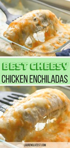 Try my easy recipe for the best creamiest cheesy chicken enchiladas! This Texmex restaurant favorite is filled with lots of chicken, cheese and my secret ingredient, Queso! They are simple to make and loved by everyone. #dinner #texmex